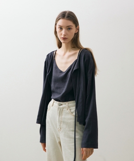 [NONLOCAL] Linen Shirring Cardigan