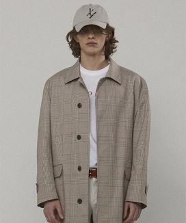 [LIEU HOMME] CHECK LONG MAC COAT