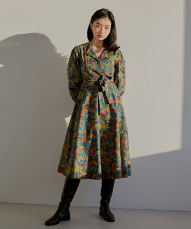 [WUZU STUDIO] WUZU LONG COLLAR ONE-PIECE FLOWER