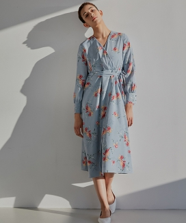 [WUZU STUDIO] WUZU LONG WRAP ONE-PIECE FLOWER