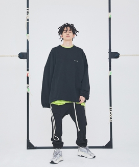 [ATTENTIONROW] ESSENTIAL SIDE ROPE OVERFIT SWEATSHIRT (3 color)