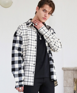 [S SY] MIXED CHECK OVERSIZE PLAID SHIRTS
