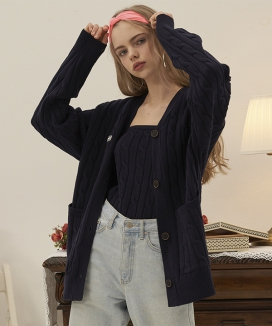 [ODDONEOUT] CABLE KNIT CARDIGAN