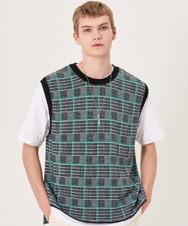 [INSILENCE] WOOL CHECK KNIT VEST
