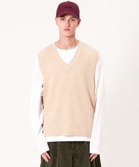 [INSILENCE] COTTON V-NECK KNIT VEST