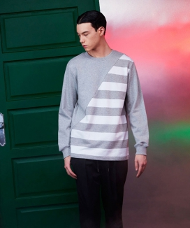 [LOUPS BLANCS] Diagonal Cut Striped Sweatshirt