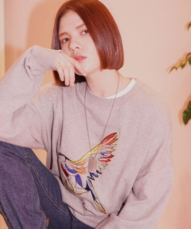 [LOUPS BLANCS] Bird Embroidered Sweatshirt