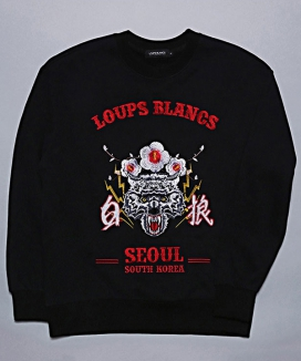 [LOUPS BLANCS] Embroidery Woolf SEOUL Sweatshirt