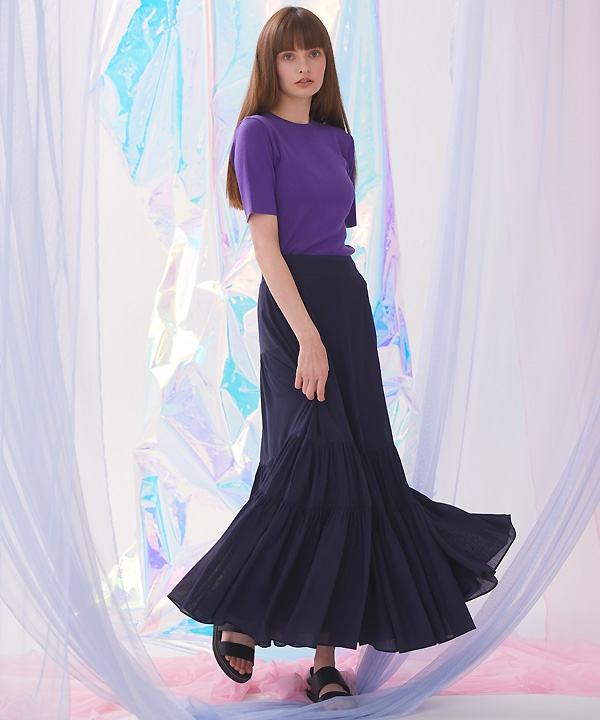 [millogrem] Bohemian Shirring Long Skirt