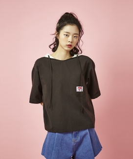 [Between A and B] V-NECK HOODY TOP