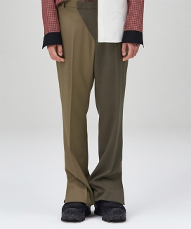 [LUVur] Diagonal front Straight-leg Trousers