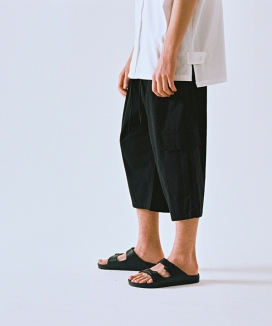 [A NOTHING] LINEN-COTTON CARGO WIDE PANTS