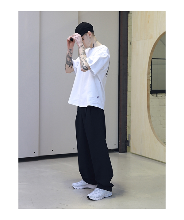 [MASSNOUN] TURN-UP HIGHWAIST WIDE SLACKS MSNTT001