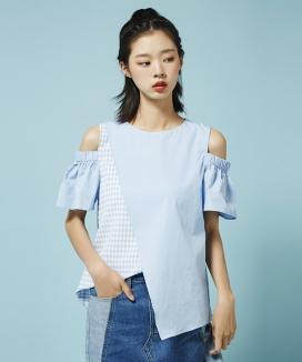 [Between A and B] CHECK MIX UNBAL BLOUSE