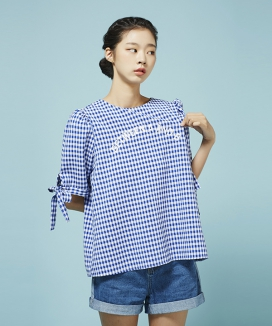 [Between A and B] SLEEVE RIBBON CHECK BLOUSE