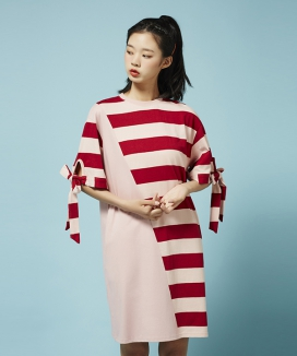 [Between A and B] UNBAL STRIPE BOX DRESS