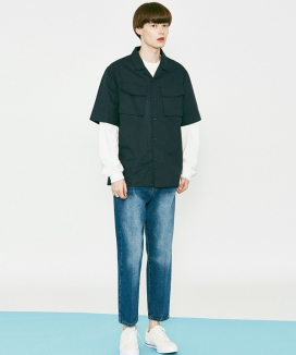 [VOIEBIT] V273 STABLE CROP DENIM PANTS