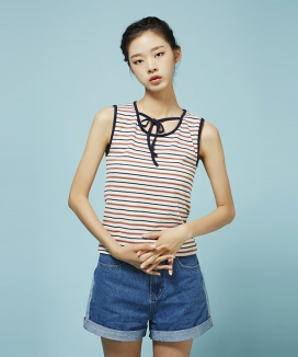 [Between A and B] RIBBON TIE STRIPE SLEEVELESS TOP