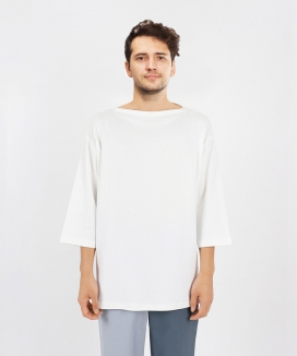 [LUVur] RELAXED 3/4 SLEEVE T-SHIRT WITH BOAT NECK
