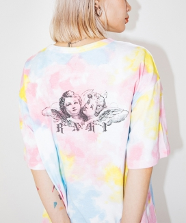 [RUNNING HIGH] [UNISEX] ANGEL PRINTING TIE-DYE OVERSIZED TEE