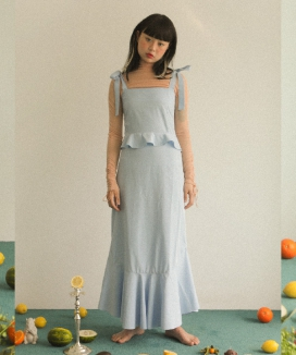 [oneninenineone] SMOCK RIBBON LONG DRESS