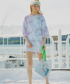 [Sorry, Too Much Love] Water Print Middle Sleeve Dress