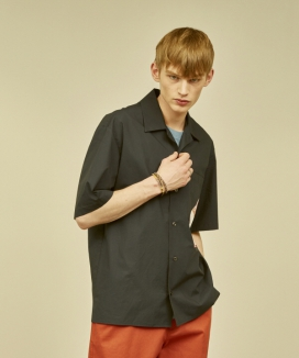 [MMH] OPEN COLLAR POCKET SHIRT