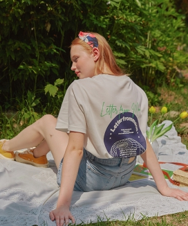 [LETTER FROM MOON] UNIVERSE LOGO EMBROIDERY T-SHIRTS