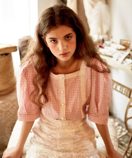 [LETTER FROM MOON] SQUARE NECK GINGHAM CHECK BLOUSE