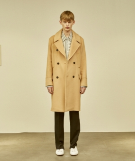 [MMH] Fitted Double-Breasted Wool Coat