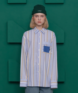 [UNALLOYED] REWORK POCKET STRIPE SHIRT