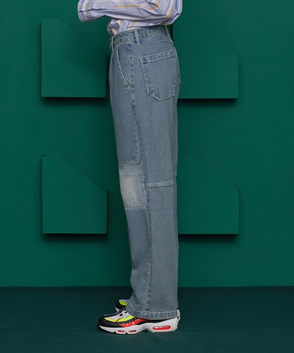 [UNALLOYED] COLOR BLOCK DENIM PANTS