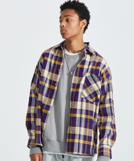 [AT THE MOMENT] Over-fit Easy Check Shirt