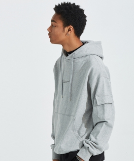 [AT THE MOMENT] Heavy Cargo-Sleeve Hoodie
