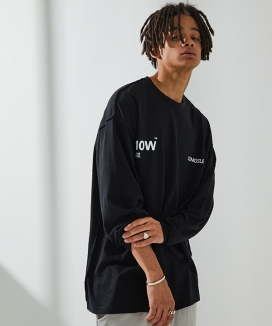 [ATTENTIONROW] Logo Slub Overfit Long Sleeve