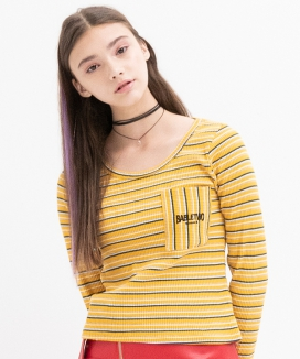 [B ABLE TWO] Stripe Pocket T-shirts
