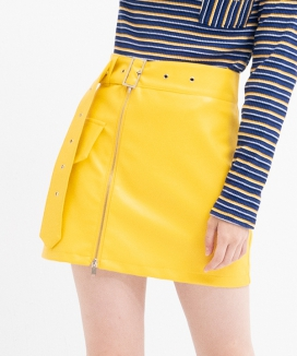 [B ABLE TWO] Belt Detail Leather Skirt
