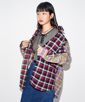 [RUNNING HIGH] COLOR BLOCK CHECK OVERSIZED SHIRTS