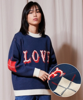 [URBANDTYPE] KN050_LOVE Crewneck Knit