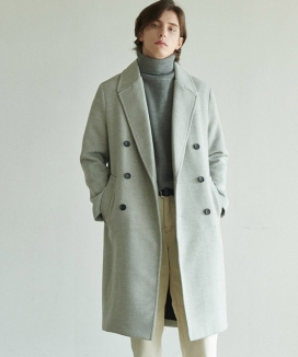 [ANOUTFIT] UNISEX SOLID ERBE DOUBLE COAT