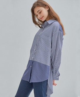 [MANAVIS7] STRIPE BLOCK SHIRT
