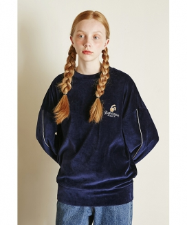 [Between A and B] SLEEVE LINE VELOUR SWEATSHIRT