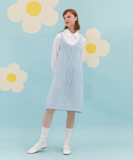 [oioi] RIBBON KNIT ONEPIECE