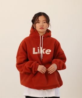 [UnLikeLook] like logo fleece hoodie