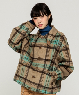 [RUNNING HIGH] CORDUROY POINT CHECK SHORT COAT
