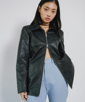 [RA VIDE] LEATHER ZIP JACKET