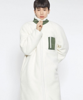 [MINIMALCODE] WOOL LONG FLEECE ZIP-UP COAT
