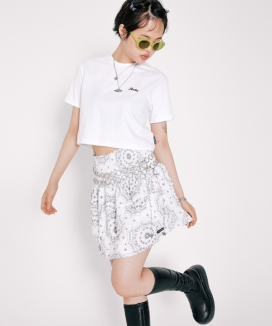[RUNNING HIGH] SMOCKED PAISLEY MINI SKIRT / スモークペイズリー ミニスカート