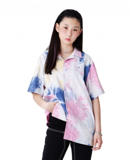 [RUNNING HIGH] COLOR EMBROIDERY TIE-DYE LINEN SHIRT / カラーインブロイダリー タイダイリネンシャツ