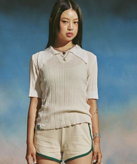 [MIMICAWE] COLLAR KNIT TOP / カラーニットトップス